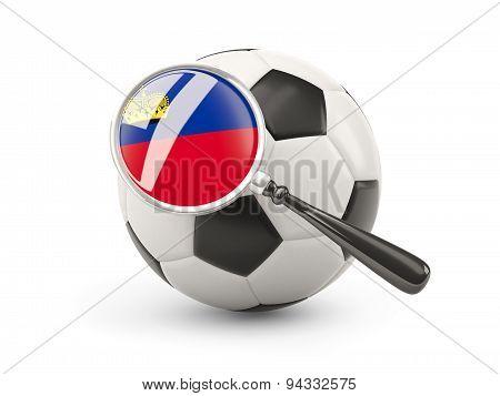 Football With Magnified Flag Of Liechtenstein