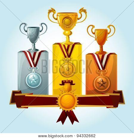 Trophies On Podium