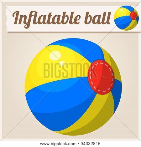 Inflatable beach ball. Cartoon vector illustration. Series of children's toys