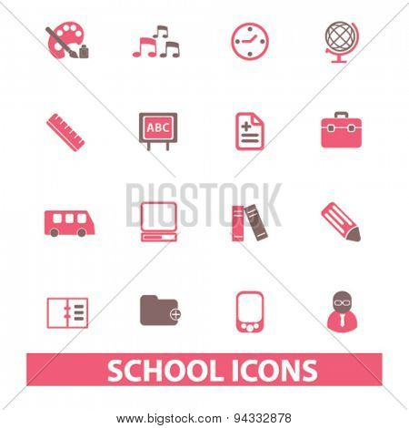school, education, learning isolated icons, signs, illustrations, vector for internet, website, mobile application on white background