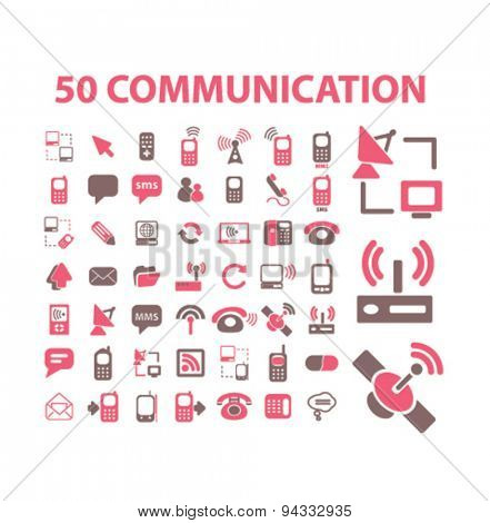 communication, connection, network isolated icons, signs, illustrations, vector for internet, website, mobile application on white background