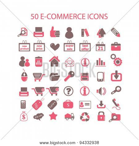 e-commerce, retail, commerce isolated icons, signs, illustrations, vector for internet, website, mobile application on white background