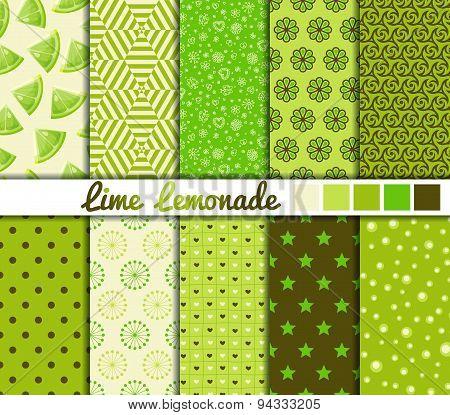 Set of 10 simple seamless patterns. 'Lime Lemonade' color palette.