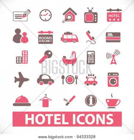 hotel, motel isolated icons, signs, illustrations, vector for internet, website, mobile application on white background
