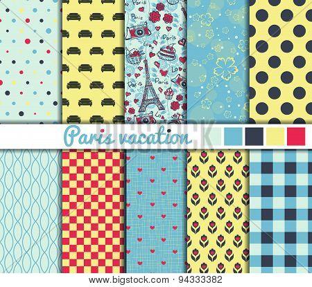 Set of 10 simple seamless patterns. 'Paris vacation' color palette.