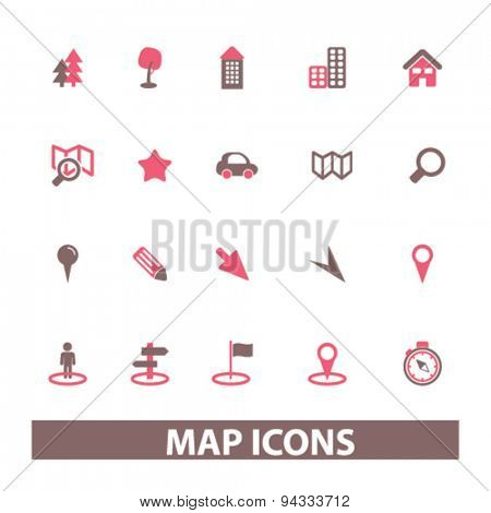map, route isolated icons, signs, illustrations, vector for internet, website, mobile application on white background