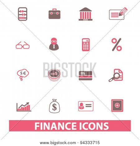 finance, bank, investment isolated icons, signs, illustrations, vector for internet, website, mobile application on white background