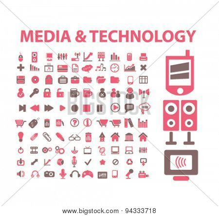 media, technology, computer isolated icons, signs, illustrations, vector for internet, website, mobile application on white background