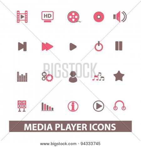 media player isolated icons, signs, illustrations for web, internet, mobile application, vector
