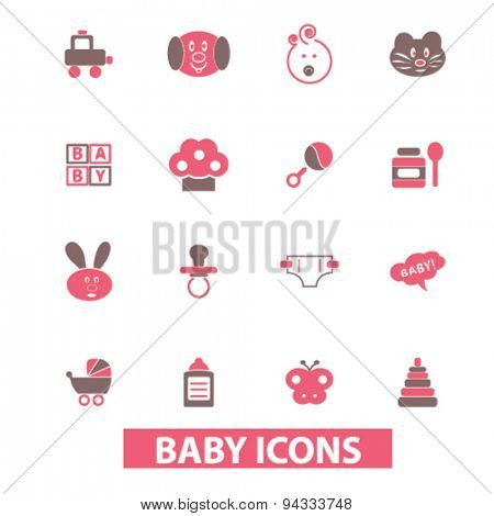 baby, toys, children isolated icons, signs, illustrations for web, internet, mobile application, vector
