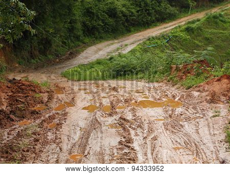 Road Wet Muddy Of Countryside