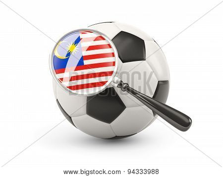 Football With Magnified Flag Of Malaysia