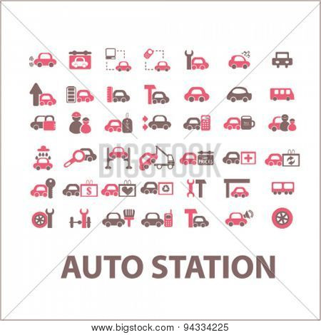 auto station isolated icons, signs, illustrations for web, internet, mobile application, vector