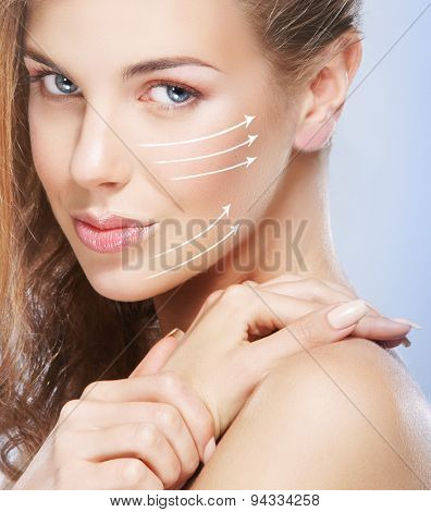 Close-up portrait of young, beautiful and healthy woman ready for a botox injection