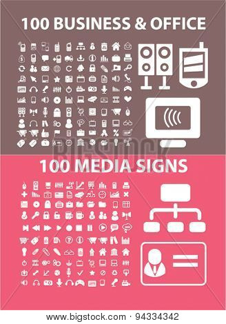 business, office, media, computer isolated icons, signs, illustrations for web, internet, mobile application, vector