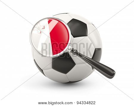 Football With Magnified Flag Of Malta