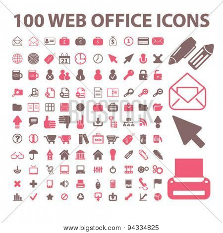 100 website, office, document, workplace isolated icons, signs, illustrations for web, internet, mobile application, vector