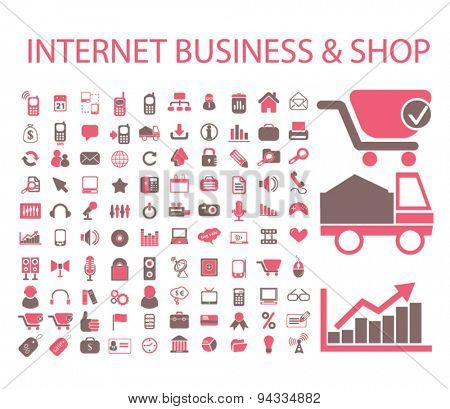 internet business, shop, commerce, logistics isolated icons, signs, illustrations for web, internet, mobile application, vector