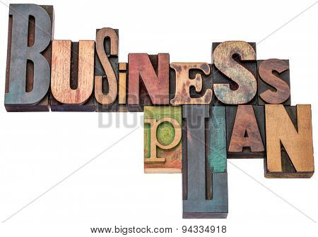 business plan typography word abstract - isolated text in mixed letterpress wood type printing blocks