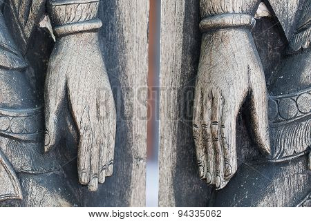 Gate Wooden Bolt Thai Style Hand.