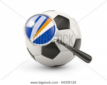 Football With Magnified Flag Of Marshall Islands