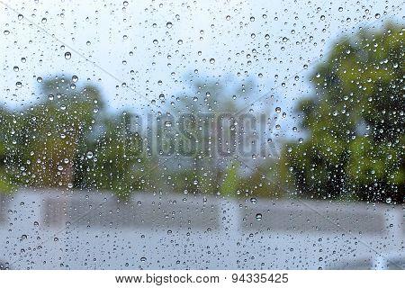 Windshield Rain Drop On Car Window.