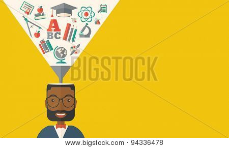 A black man with icons and student ideas. A Contemporary style with pastel palette, dark yellow tinted background. Vector flat design illustration. Horizontal layout with text space in right side.