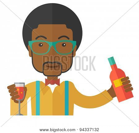 A young black bartender preparing a mixed drinks. A Contemporary style. Vector flat design illustration isolated white background. Square layout
