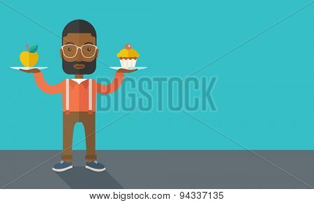 An african-american young man carries with his two hands cupcake and apple as his balance diet. A contemporary style with pastel palette dark blue tinted background. Vector flat design illustration