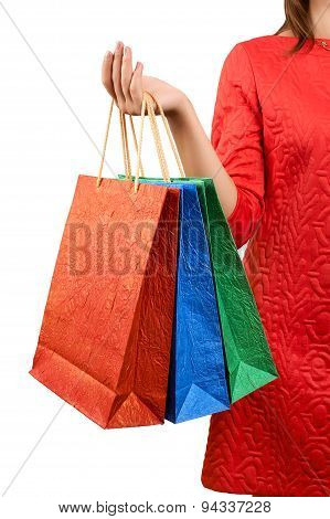 Woman With A Gift Bag On A White Background