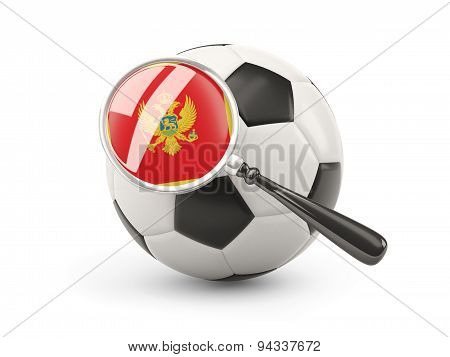 Football With Magnified Flag Of Montenegro