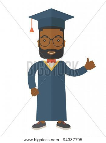 A young man wearing toga and graduation cap. A Contemporary style. Vector flat design illustration isolated white background. Vertical layout
