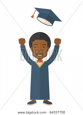 A happy african man throwing the graduation cap in the air. A Contemporary style. Vector flat design illustration isolated white background. Vertical layout