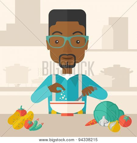 A Young black guy is happy eating salad for lunch with some vegetables on the table. A Contemporary style with pastel palette, soft beige tinted background. Vector flat design illustration. Square