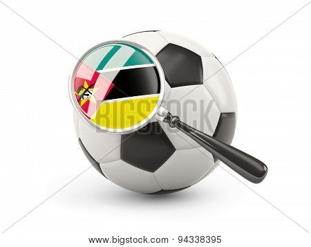 Football With Magnified Flag Of Mozambique