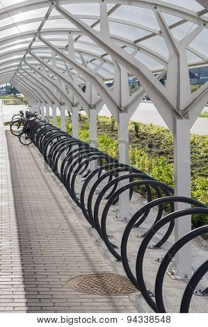 Modern Bicycle Parking Area With Roof