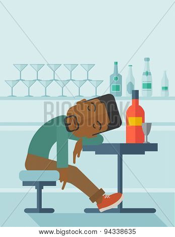 An african drunk man sitting fall asleep on the table with a bottle of beer inside the pub. Over drink concept. A contemporary style with pastel palette soft blue tinted background. Vector flat design