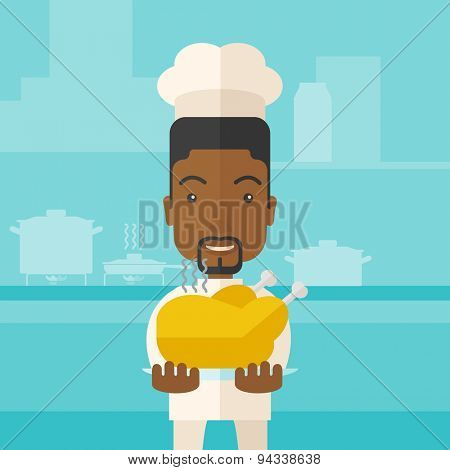 A black young chef presenting a tasty cooked turkey for thanksgiving celebration. A contemporary style with pastel palette blue tinted background. Vector flat design illustration. Square layout.