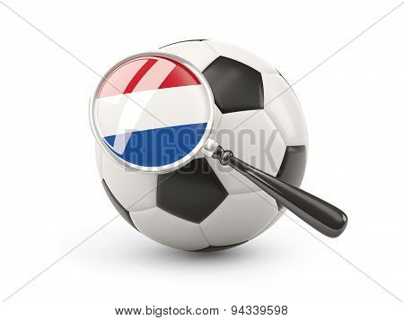 Football With Magnified Flag Of Netherlands