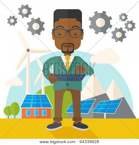 A mid adult male african engineer holding a blueprint in a solar panel. A Contemporary style with pastel palette, soft beige tinted background. Vector flat design illustration. Square layout.