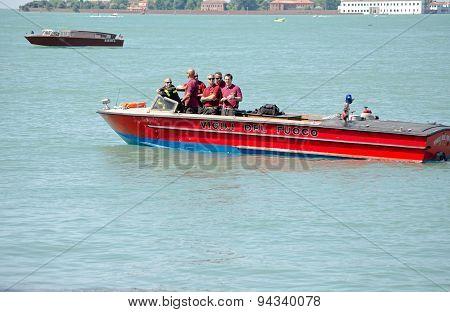 Venice Firefighters On Boat