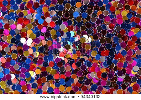 Varicolored Confetti As Background Texture
