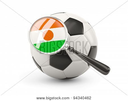 Football With Magnified Flag Of Niger