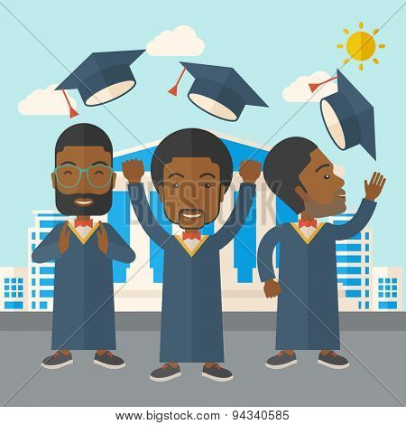 Smiling three men throwing graduation cap in the air. A Contemporary style with pastel palette, soft blue tinted background with desaturated clouds. Vector flat design illustration. Square layout.