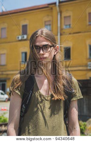 Beautiful Model Outside Gucci Fashion Show Building For Milan Men's Fashion Week