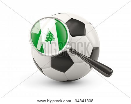 Football With Magnified Flag Of Norfolk Island