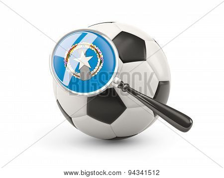Football With Magnified Flag Of Northern Mariana Islands