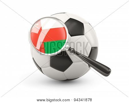 Football With Magnified Flag Of Oman