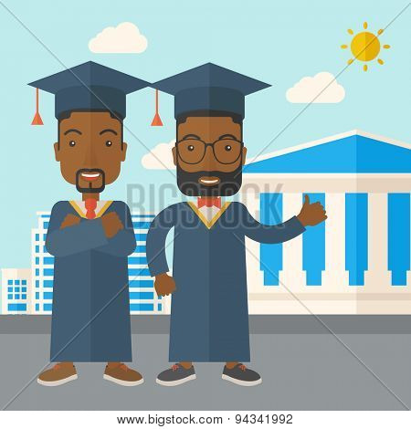 Happy two black young men wearing a toga and graduation cap standing under the sun. A Contemporary style with pastel palette, soft blue tinted background with desaturated clouds. Vector flat design