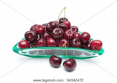 Ripe Juicy Cherry Closeup On A White Background